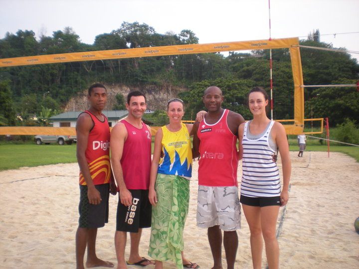 Vanuatu Beach Volleyball coaching staff back in 2010 with Joe Joel, Jean-Patrick Godbout, Debbie Masauvakalo, Steve Anderson and Lauren McLeod at the Beach Stadium in Port Vila.