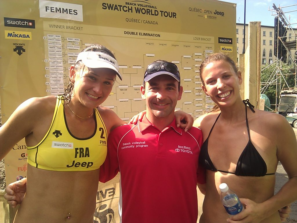 Jean-Patrick Godbout with Team France athletes Melody Benhamou and Deborah Giaoui at the 2011 FIVB in Quebec city.