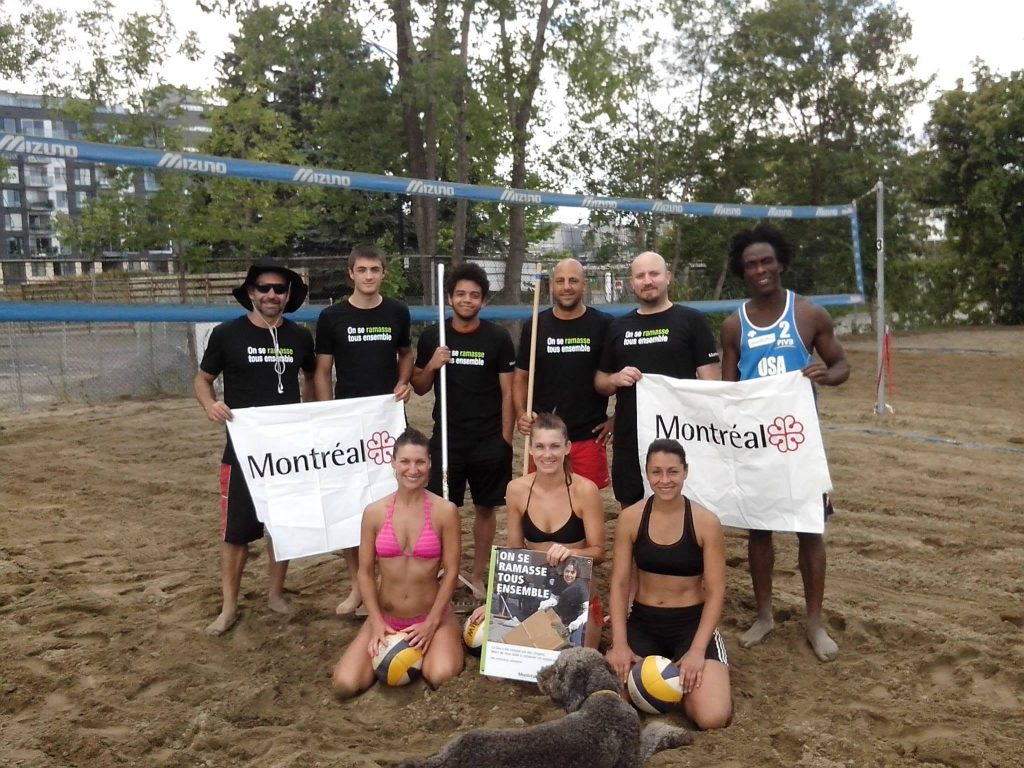 2015 Community beach cleanup for outdoor sand volleyball courts in Griffintown, Canada.