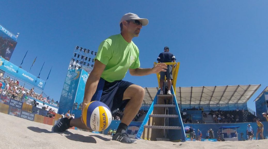 JP Godbout in action as a volunteer ball retriever on center court during the 2018 FIVB Beach Major Series in Fort Lauderdale.