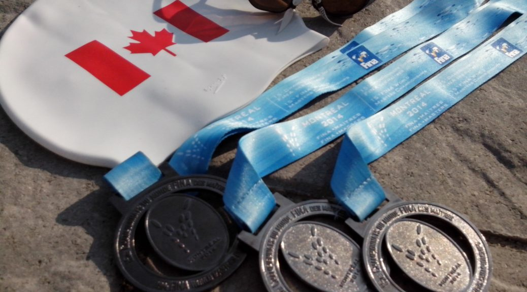 Medals from the 2014 FINA World Masters Championship