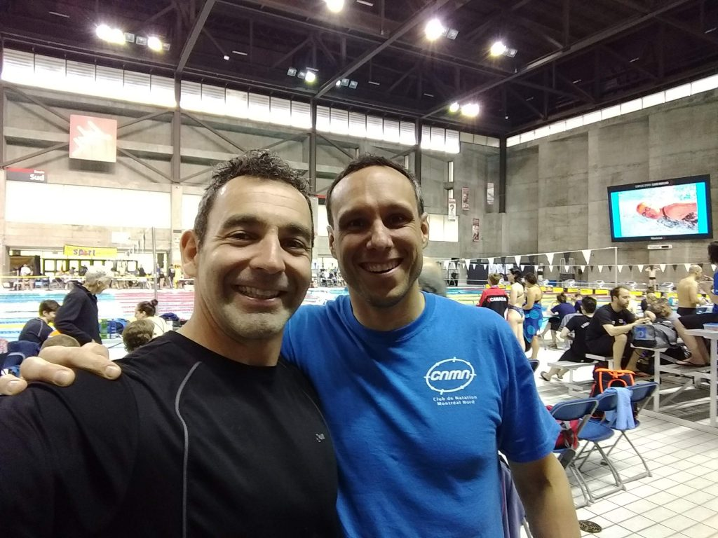 Jean-Patrick Godbout and Christian Gauvin at the 2019 Canadian Master Swimming Championship at Centre Claude Robillard in Montreal