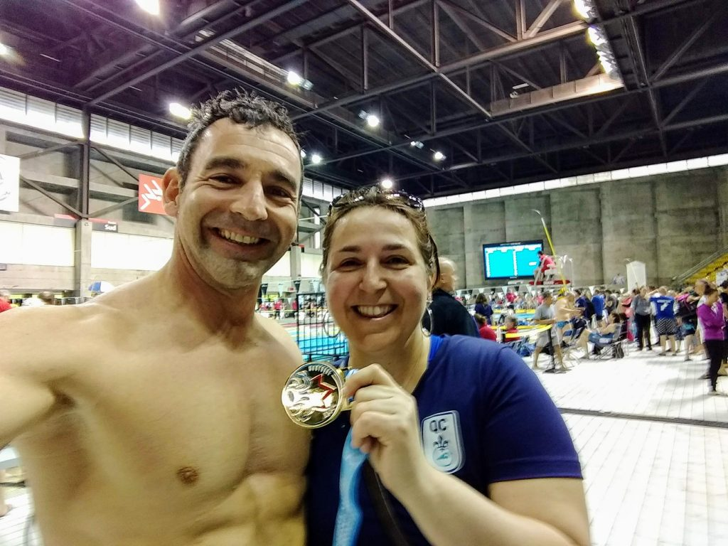 Jean-Patrick Godbout and Isabelle Ducharme at the 2019 Canadian Master Swimming Championship in Montreal