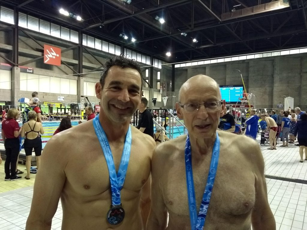 Jean-Patrick Godbout and Christian Berger (Statsman) at the 2019 Canadian Masters Swimming Championship