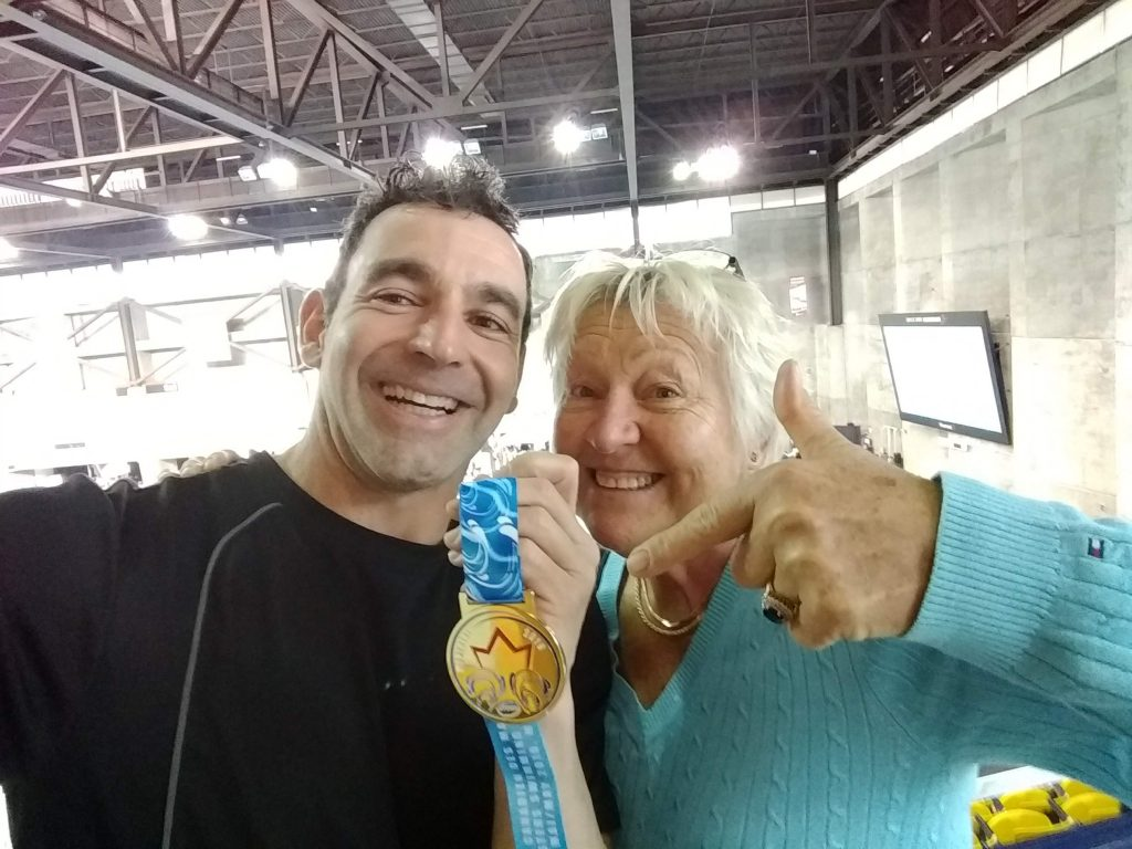 Jean-Patrick Godbout and Hedwig Lipsz Schwarz at the 2019 Canadian Masters Swimming Championship