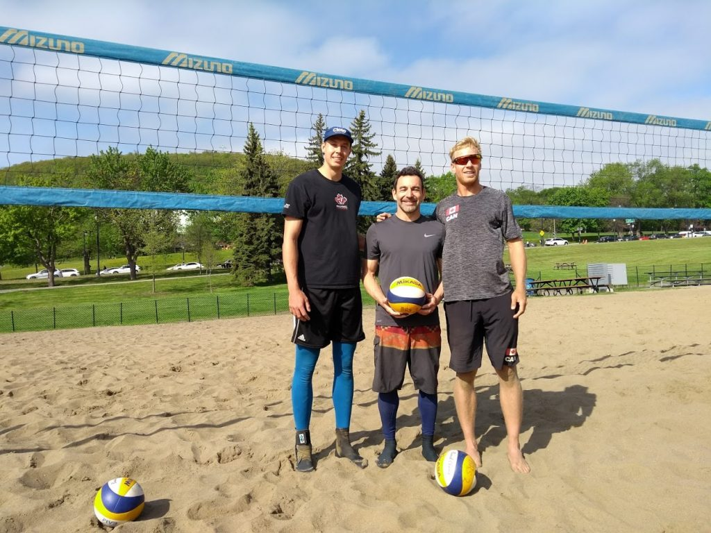 JP Godbout Coaching Beach Volleyball Athletes Mikael Dagenais and Hugo Rosso at Jeanne-Mance Park in Montreal.