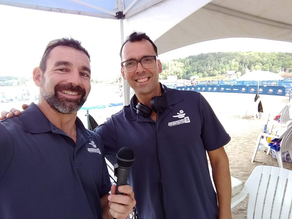 Jean-Patrick Godbout and Milen Christov (DJ Strandja) at the 2018 Provincial Beach Volleyball Championship in Ste-Agathe