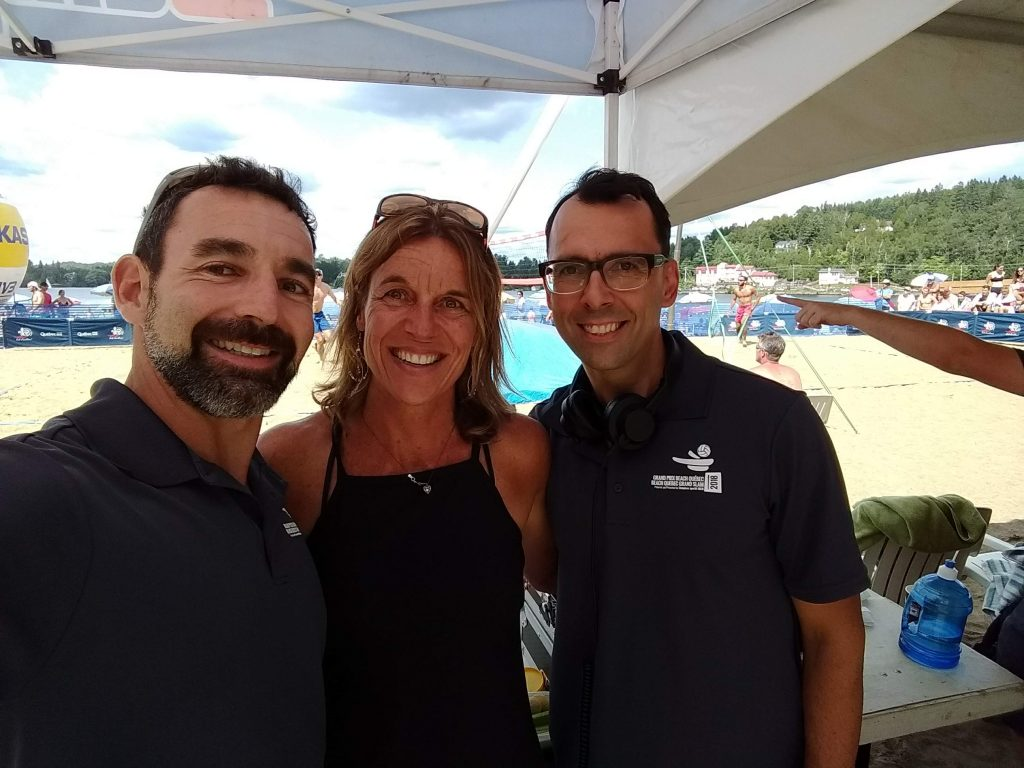 Jean-Patrick Godbout, Guylaine Dumont and Milen Christov (DJ Strandja) at the 2018 Provincial Beach Volleyball Championship in Ste-Agathe