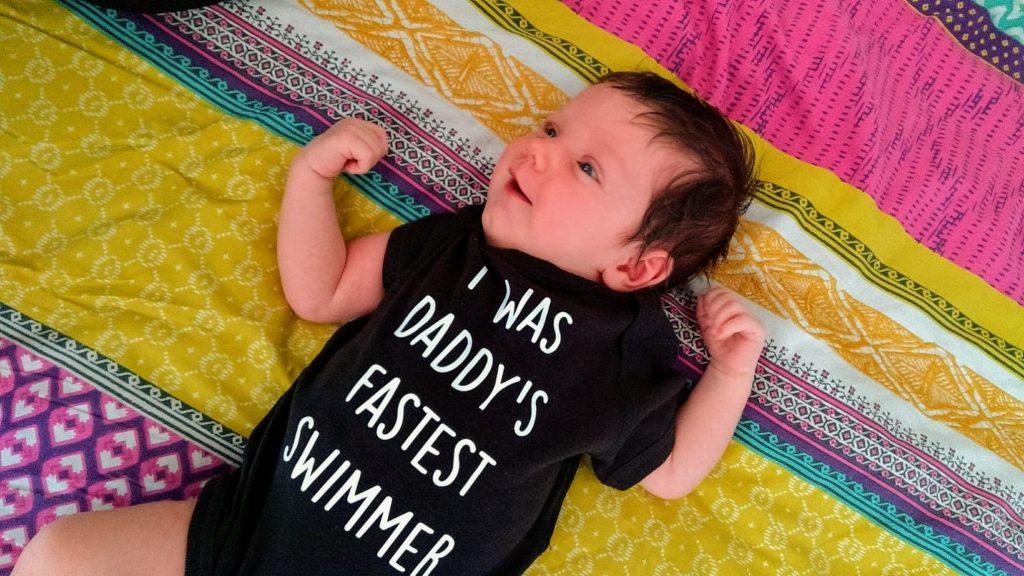 Daddy's fastest swimmer