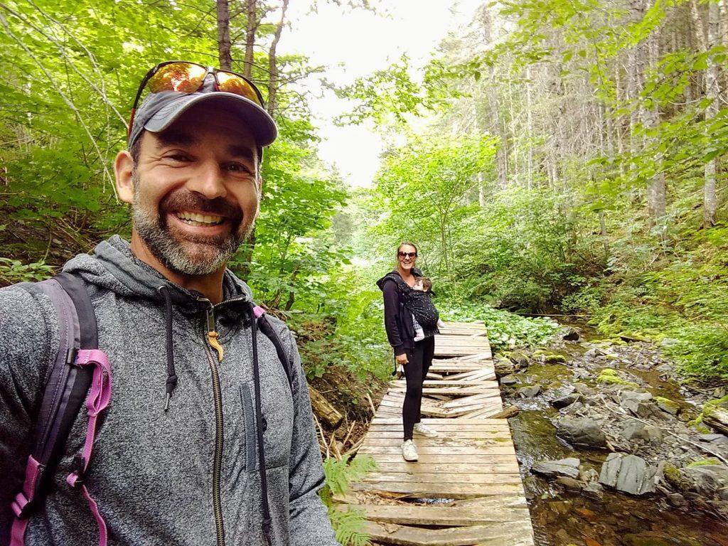 Family hiking at Mont Castor in Gaspésie