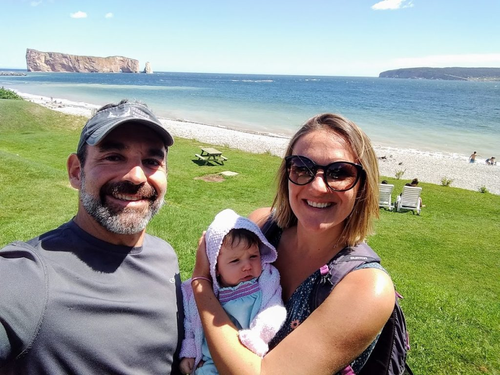Family at Rocher Percé in Gaspésie.