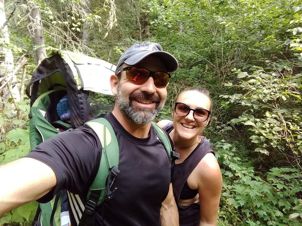 Family hiking at Mont Castor in Gaspésie.